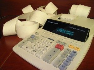 A calculator on a table
