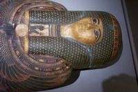 image of painted cartonnage coffin with mummy of Amen, Tabes, Boston Museum