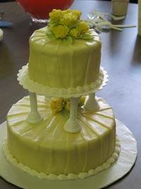 photo of a two tier cake with fondant flowers and chocolate icing
